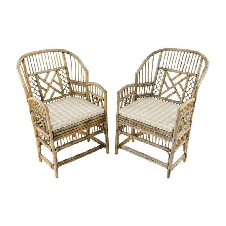 Pair of Brighton Pavilion Style Bamboo Armchairs For Sale