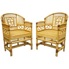 Pair of Vintage Brighton Pavilion Style Bamboo & Cane Rattan Arm Chairs (A)