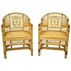 Pair of Vintage Brighton Pavilion Style Bamboo & Cane Rattan Arm Chairs (B)