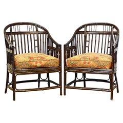 Pair of Brighton Pavillion, Chinoiserie Lacquered Bamboo Chairs, 20th Century