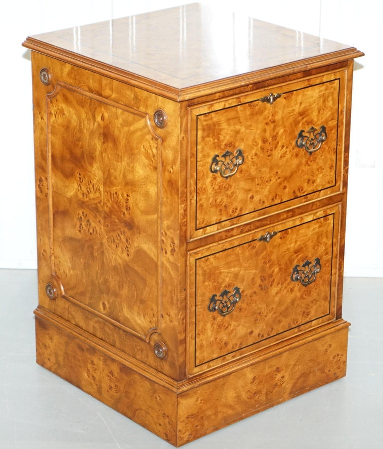 We are delighted to offer for sale this lovely pair of Brights of Nettlebed burr walnut filing cabinets   A truly stunning pair, if burr walnut is your thing or just timber patina that to die for then look no further, this pair is simply eye candy