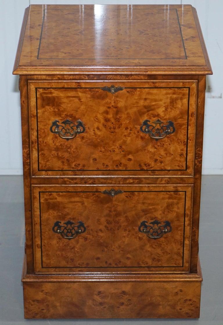 Regency Pair of Brights of Nettlebed Burr Walnut Office Filing Cabinets Desk For Sale