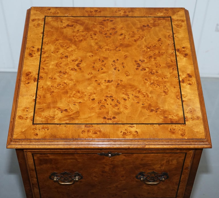 British Pair of Brights of Nettlebed Burr Walnut Office Filing Cabinets Desk For Sale