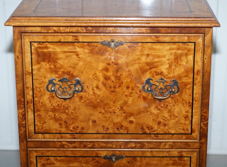 Hand-Carved Pair of Brights of Nettlebed Burr Walnut Office Filing Cabinets Desk For Sale