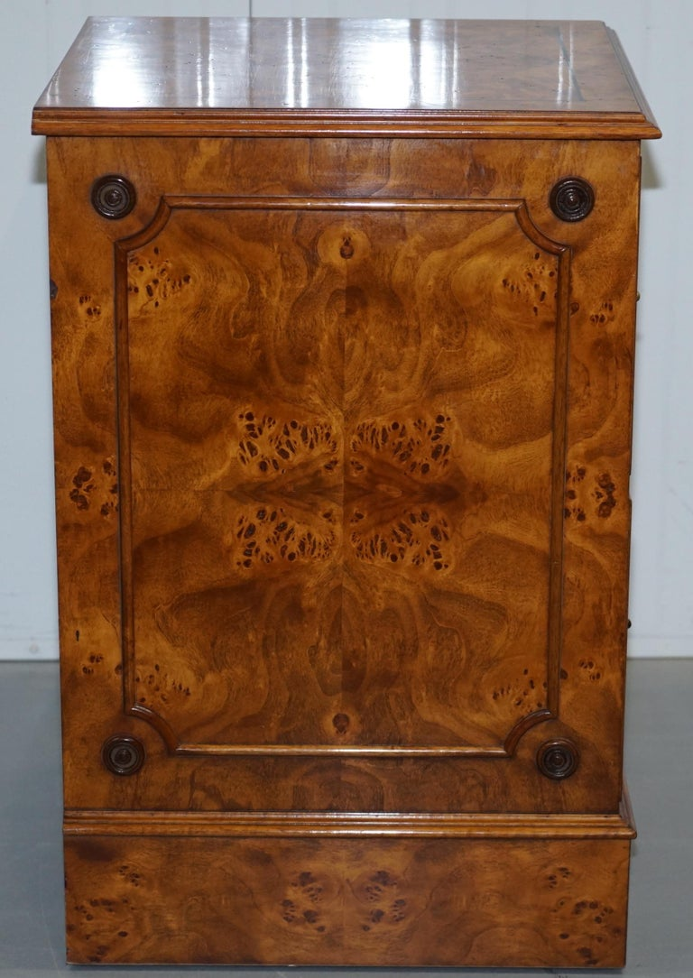 20th Century Pair of Brights of Nettlebed Burr Walnut Office Filing Cabinets Desk For Sale