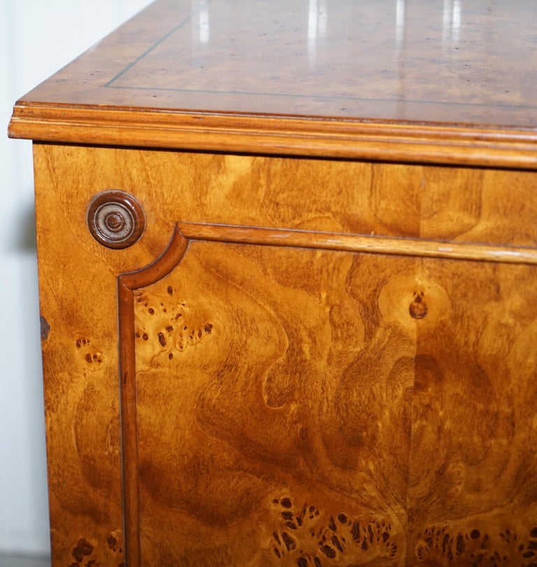 Pair of Brights of Nettlebed Burr Walnut Office Filing Cabinets Desk For Sale 1