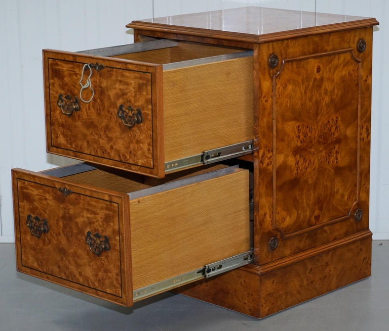 Pair of Brights of Nettlebed Burr Walnut Office Filing Cabinets Desk For Sale 2