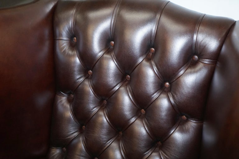 Pair of Brights of Nettlebed Chesterfield Brown Leather Wing Armchairs For Sale 4