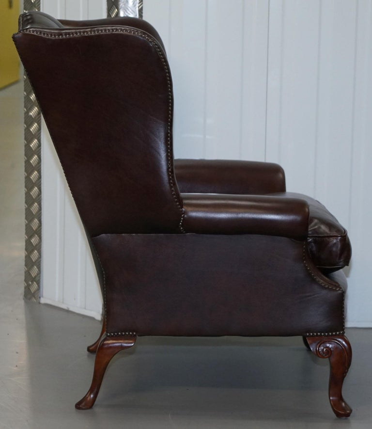 Pair of Brights of Nettlebed Chesterfield Brown Leather Wing Armchairs For Sale 5