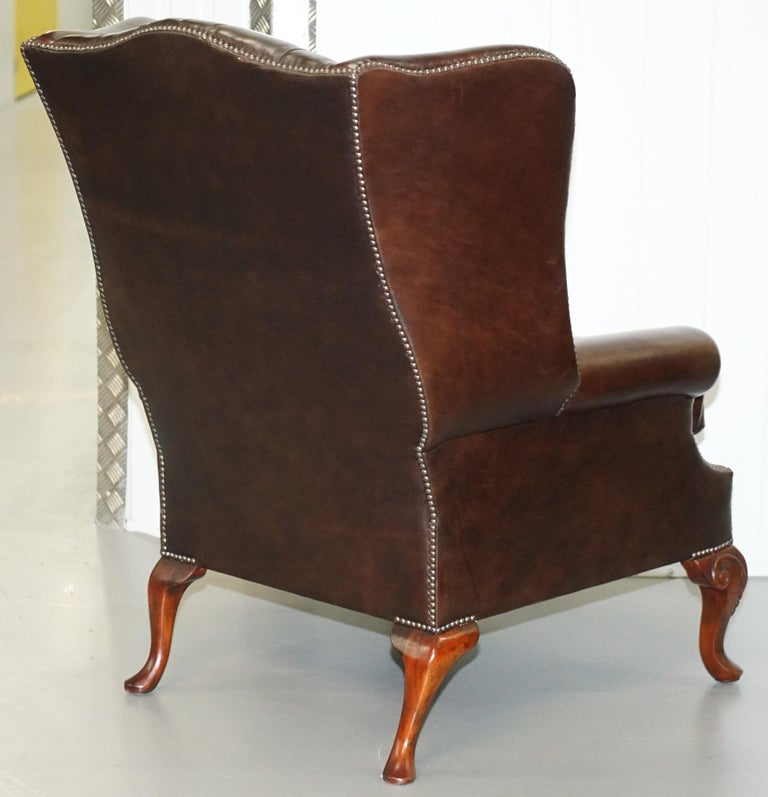Pair of Brights of Nettlebed Chesterfield Brown Leather Wing Armchairs For Sale 6