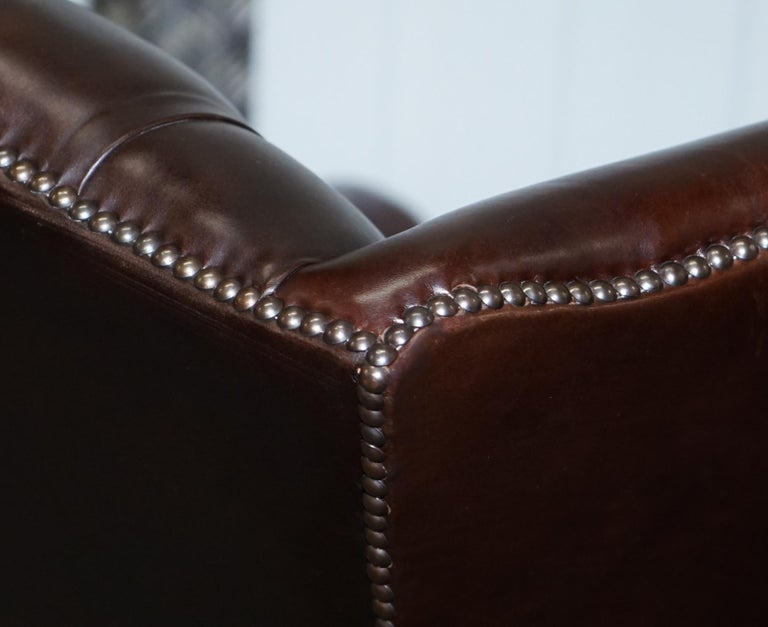 Pair of Brights of Nettlebed Chesterfield Brown Leather Wing Armchairs For Sale 8