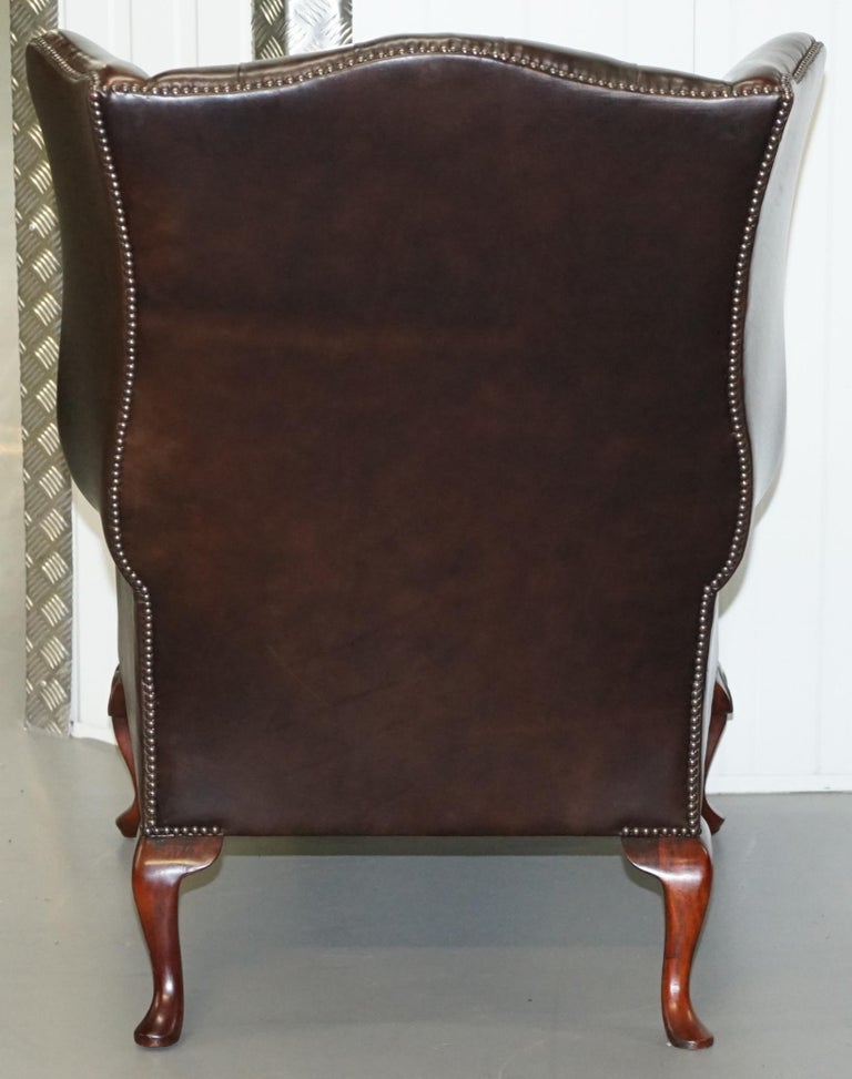 Pair of Brights of Nettlebed Chesterfield Brown Leather Wing Armchairs For Sale 9