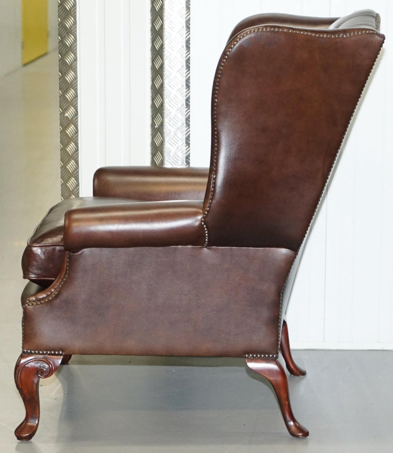 Pair of Brights of Nettlebed Chesterfield Brown Leather Wing Armchairs For Sale 10