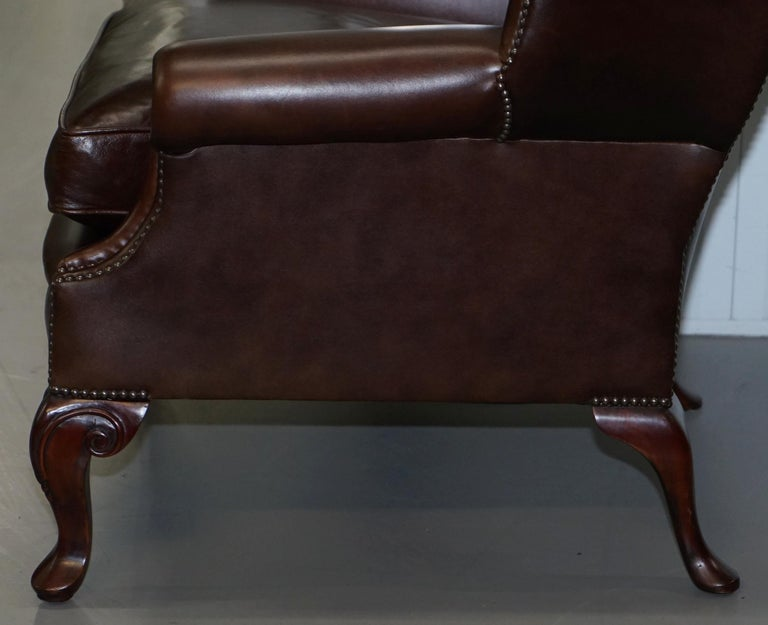Pair of Brights of Nettlebed Chesterfield Brown Leather Wing Armchairs For Sale 11