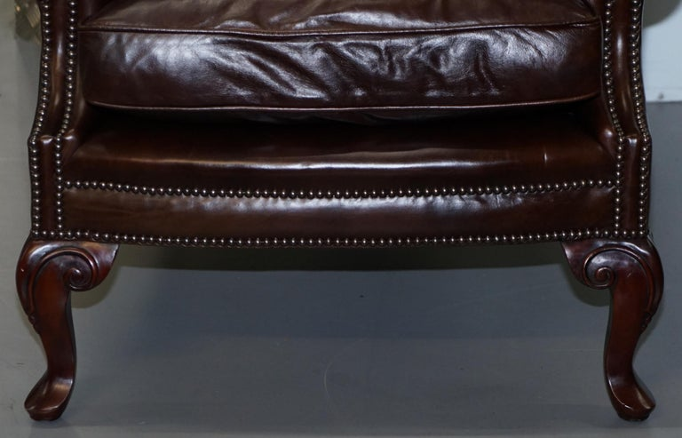 Hand-Crafted Pair of Brights of Nettlebed Chesterfield Brown Leather Wing Armchairs For Sale