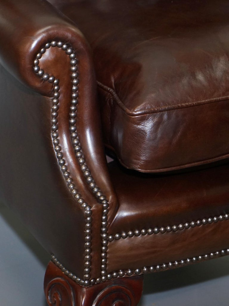 Contemporary Pair of Brights of Nettlebed Chesterfield Brown Leather Wing Armchairs For Sale