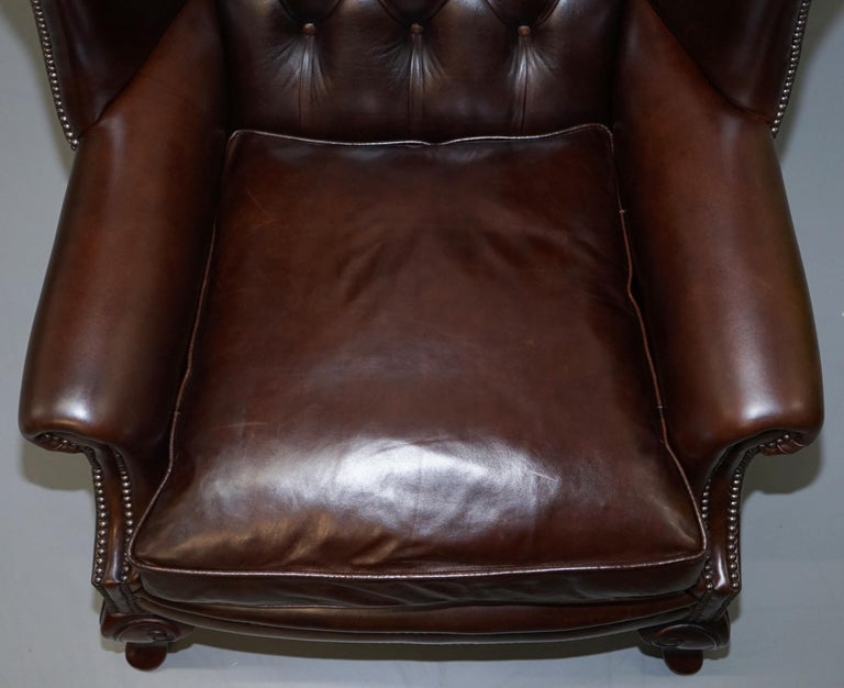 Pair of Brights of Nettlebed Chesterfield Brown Leather Wing Armchairs For Sale 1