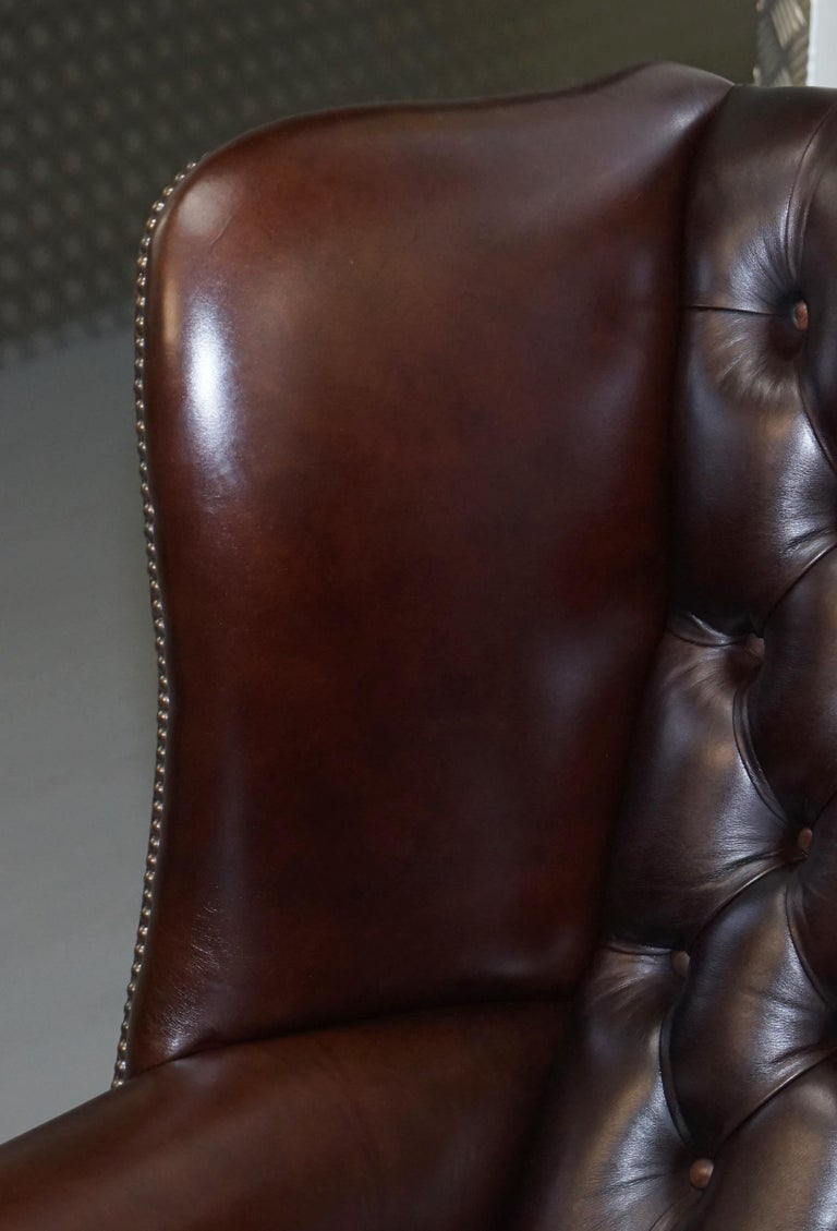 Pair of Brights of Nettlebed Chesterfield Brown Leather Wing Armchairs For Sale 2