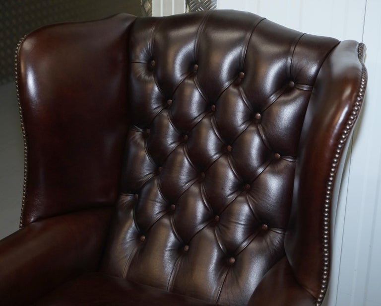 Pair of Brights of Nettlebed Chesterfield Brown Leather Wing Armchairs For Sale 3