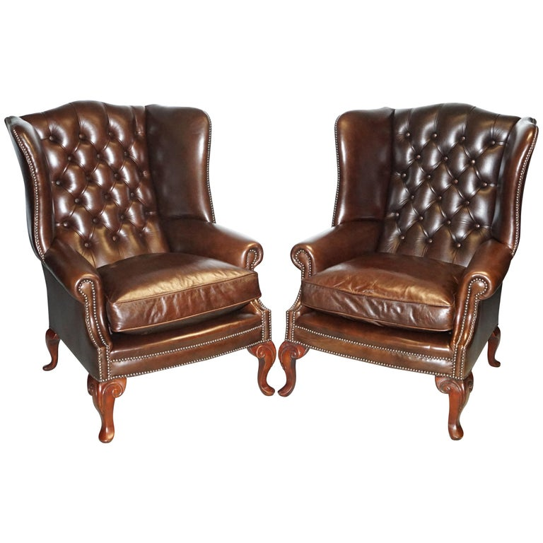 Pair of Brights of Nettlebed Chesterfield Brown Leather Wing Armchairs For Sale