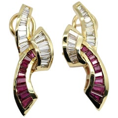 Pair of Brilliant Ribbon Diamond and Ruby Earrings Made of 14 Karat Yellow Gold