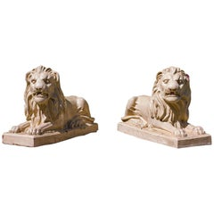 Pair of Bristol Glazed Garden Lions