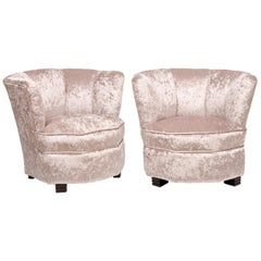 Pair of British Art Deco Cocktail Chairs circa 1930 Newly Upholstered