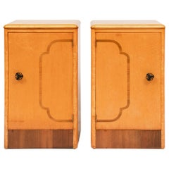 Pair of British Art Deco Maple Bedside Cabinets with Smart Walnut Banding c.1930