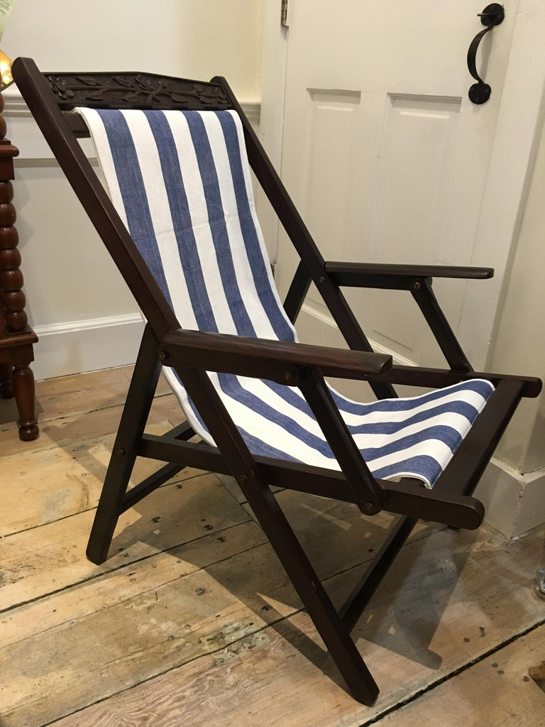 Pair of British Campaign Folding Rosewood Patio or Veranda Arm Chairs In Good Condition For Sale In Nantucket, MA