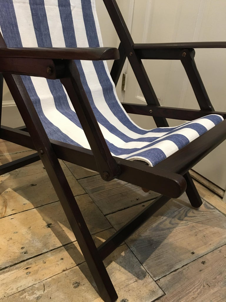 Pair of British Campaign Folding Rosewood Patio or Veranda Arm Chairs For Sale 1