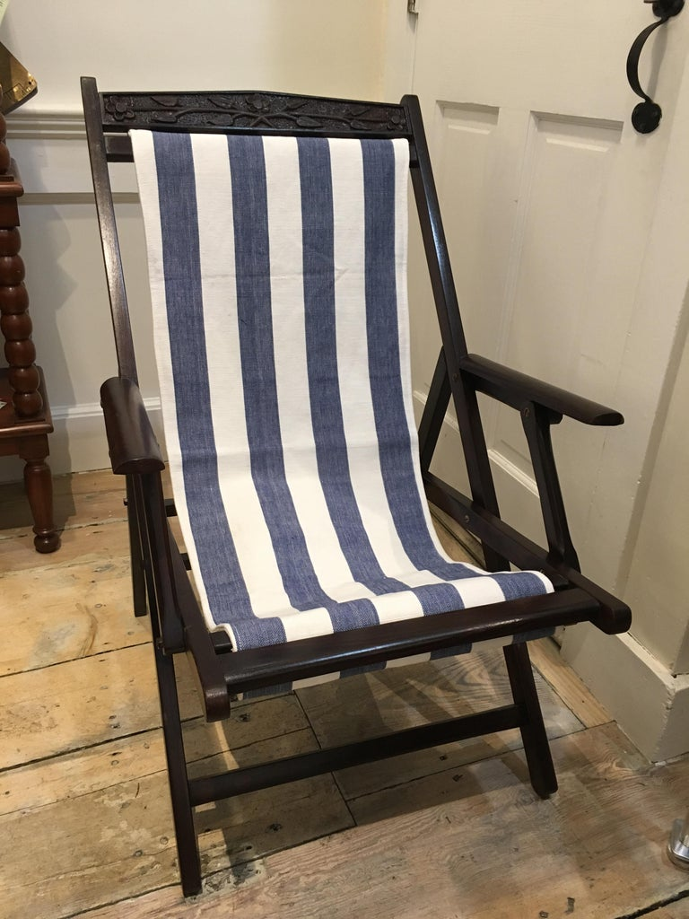 Pair of British Campaign Folding Rosewood Patio or Veranda Arm Chairs For Sale 3