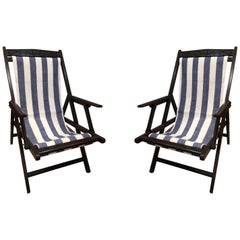 Pair of British Campaign Folding Rosewood Patio or Veranda Arm Chairs
