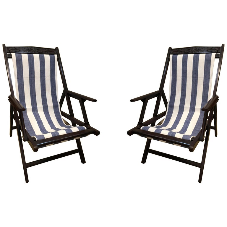 Pair of British Campaign Folding Rosewood Patio or Veranda Arm Chairs For Sale