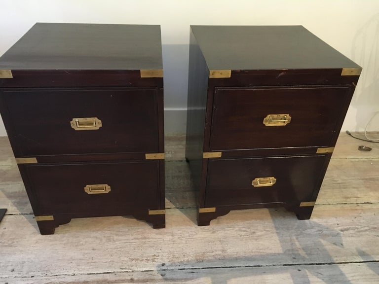 Pair of British Campaign Style Side Table In Good Condition For Sale In Nantucket, MA