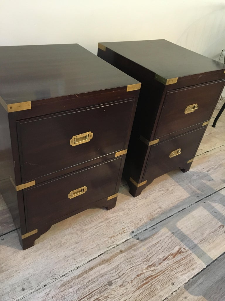 20th Century Pair of British Campaign Style Side Table For Sale