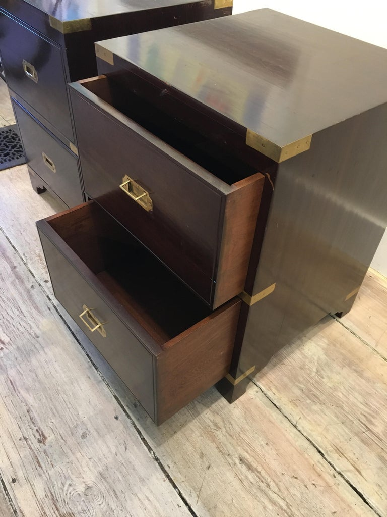 Rosewood Pair of British Campaign Style Side Table For Sale