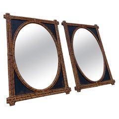 Pair of British Colonial Burnt Bamboo Wall Mirrors