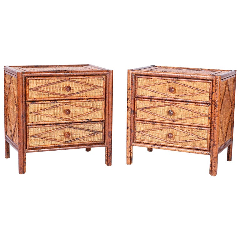 Pair of British Colonial Faux Burnt Bamboo and Grass Cloth Stands For Sale