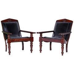 Pair of British Colonial Leather Plantation Chairs