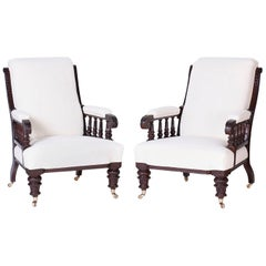 Pair of British Colonial Library Chairs