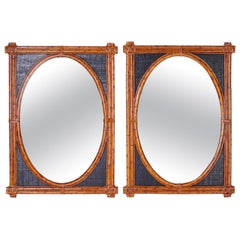 Pair of British Colonial Style Burnt Bamboo Wall Mirrors