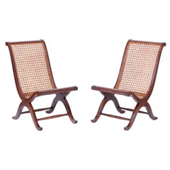 Pair of British Colonial Style Caned Campeche Chairs
