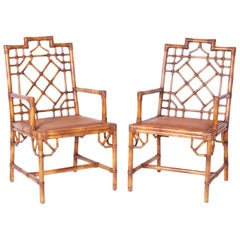 Pair of British Colonial Style Faux Bamboo Chinese Chippendale Armchairs