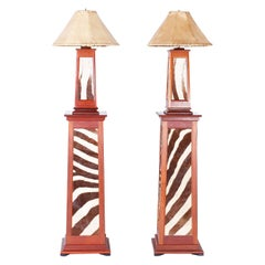 Pair of British Colonial Style Floor Lamps with Zebra Hide