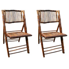 Pair of British Colonial Style Folding Bamboo Side Chairs