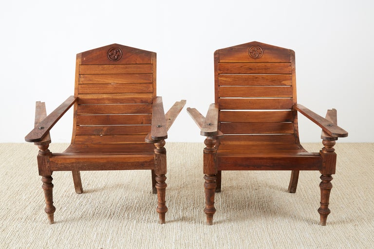 Pair of British Colonial Teak Plantation Chairs For Sale 4