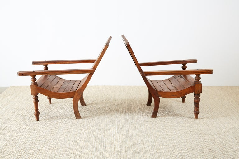 Pair of British Colonial Teak Plantation Chairs For Sale 5