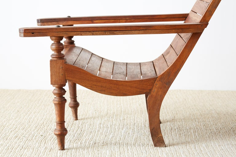Pair of British Colonial Teak Plantation Chairs For Sale 6