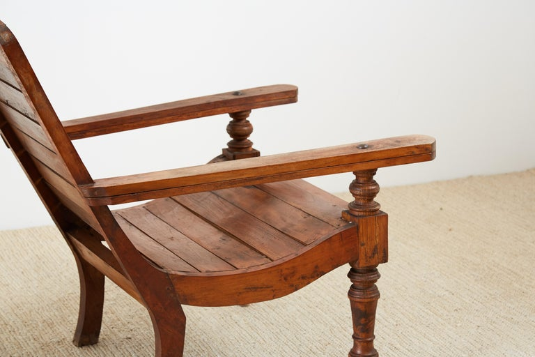 Pair of British Colonial Teak Plantation Chairs For Sale 8