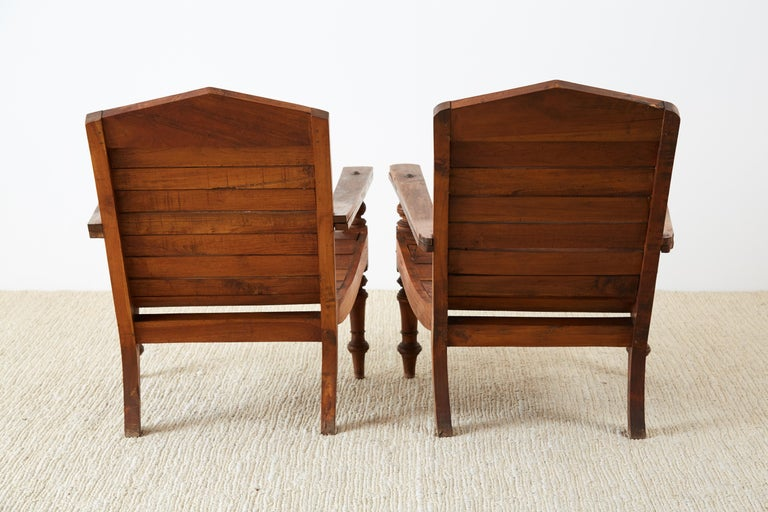 Pair of British Colonial Teak Plantation Chairs For Sale 10